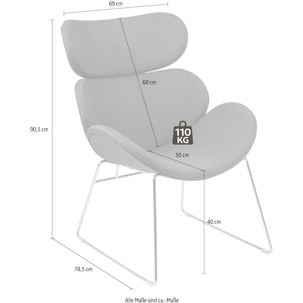 andas Loungesessel »Chiara«, in unterschiedlichen Bezugsqualitäten und Farbvarianten, mit einem schönen Metallgestell, Sitzhöhe 40 cm