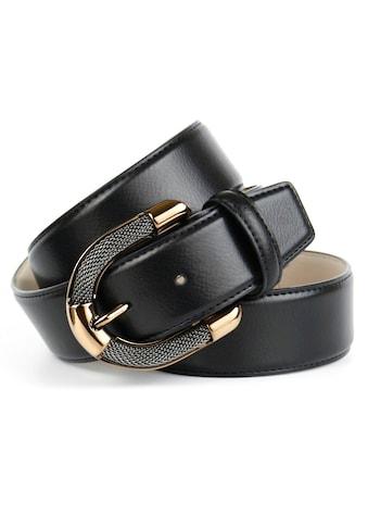 Anthoni Crown Ledergürtel, mit aufwendiger Schmuck-Schliesse in Bicolor-Optik kaufen