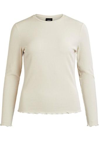 Object Rundhalsshirt, mit Wellenkanten am Saum und Ärmeln kaufen