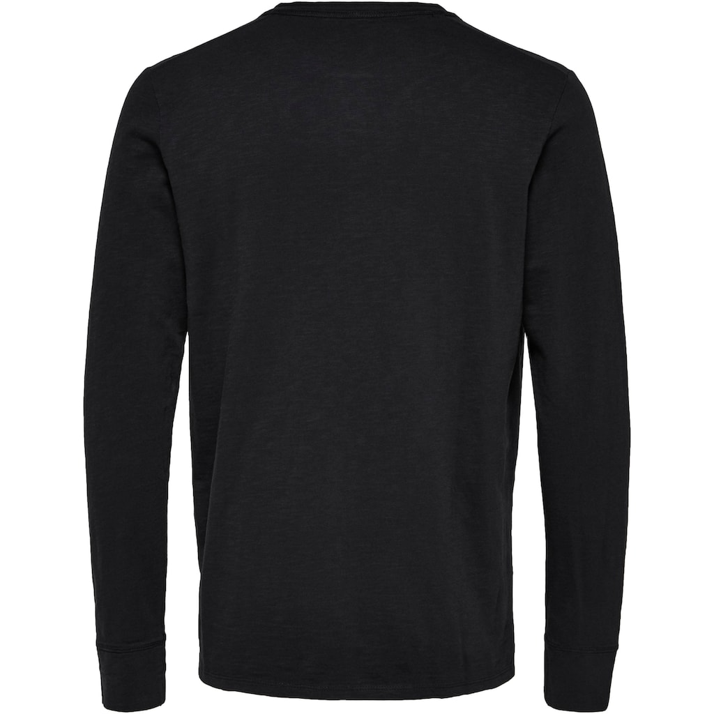 SELECTED HOMME Langarmshirt »BEN OVERDYE LS SPLIT NECK TEE«