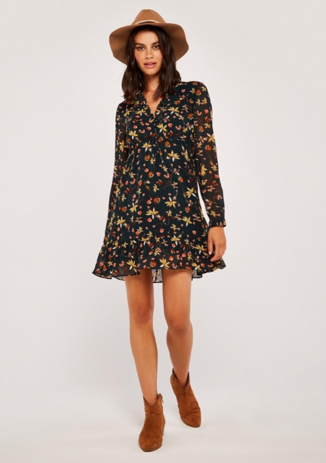 Image of Apricot Druckkleid »Autumn Floral Chiffon Dress«