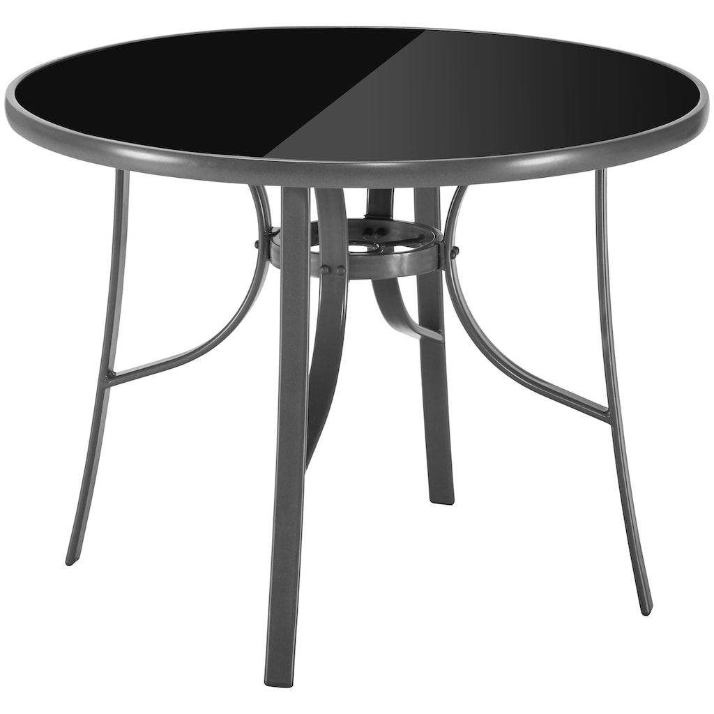 KONIFERA Gartenmöbelset »Oslo«, (9 tlg.), 4 Hochlehner, Tisch ø 100 cm, Alu/Textil