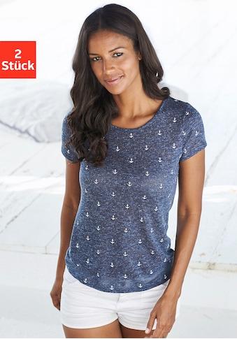 Beachtime T-Shirt, mit maritimem Anker-Druck kaufen