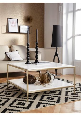 Leonique Couchtisch »Cherlen«, mit zwei Ablageflächen und goldfarbenem Gestell, quadratisch kaufen