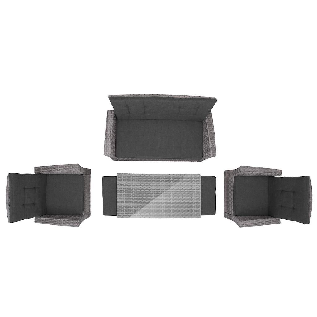 KONIFERA Loungeset »Lyon«, (12 tlg.), 2er Sofa, 2 Sessel, 2 Hocker, Tisch, Polyrattan