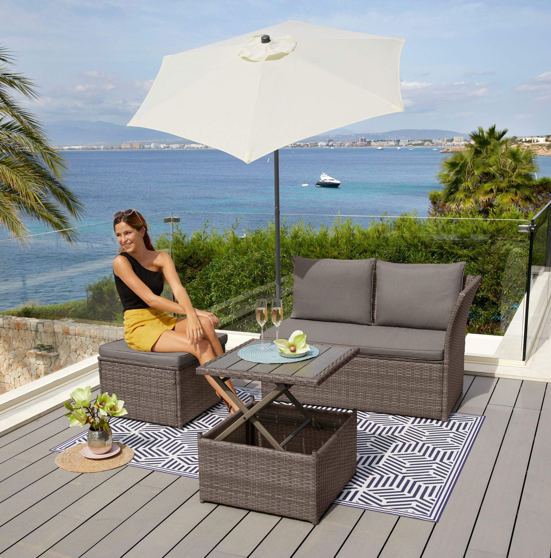 Image of KONIFERA Loungeset »Marseille Premium«, 7-tlg., 2er Sofa, 1 Hocker, Tisch 57x57x36-63 cm, Polyrattan