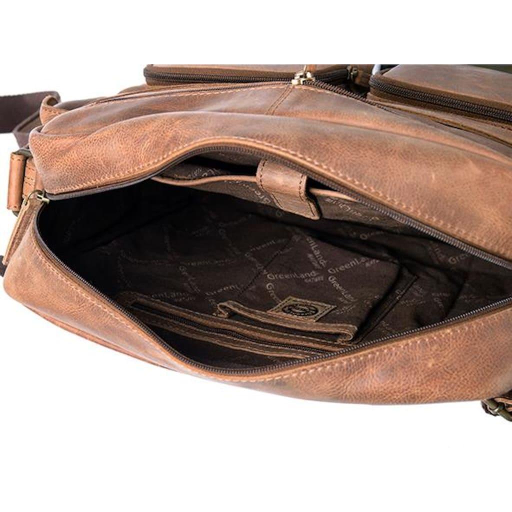 GreenLand Nature Messenger Bag »Montenegro«, aus echtem Leder mit praktischen Vortaschen
