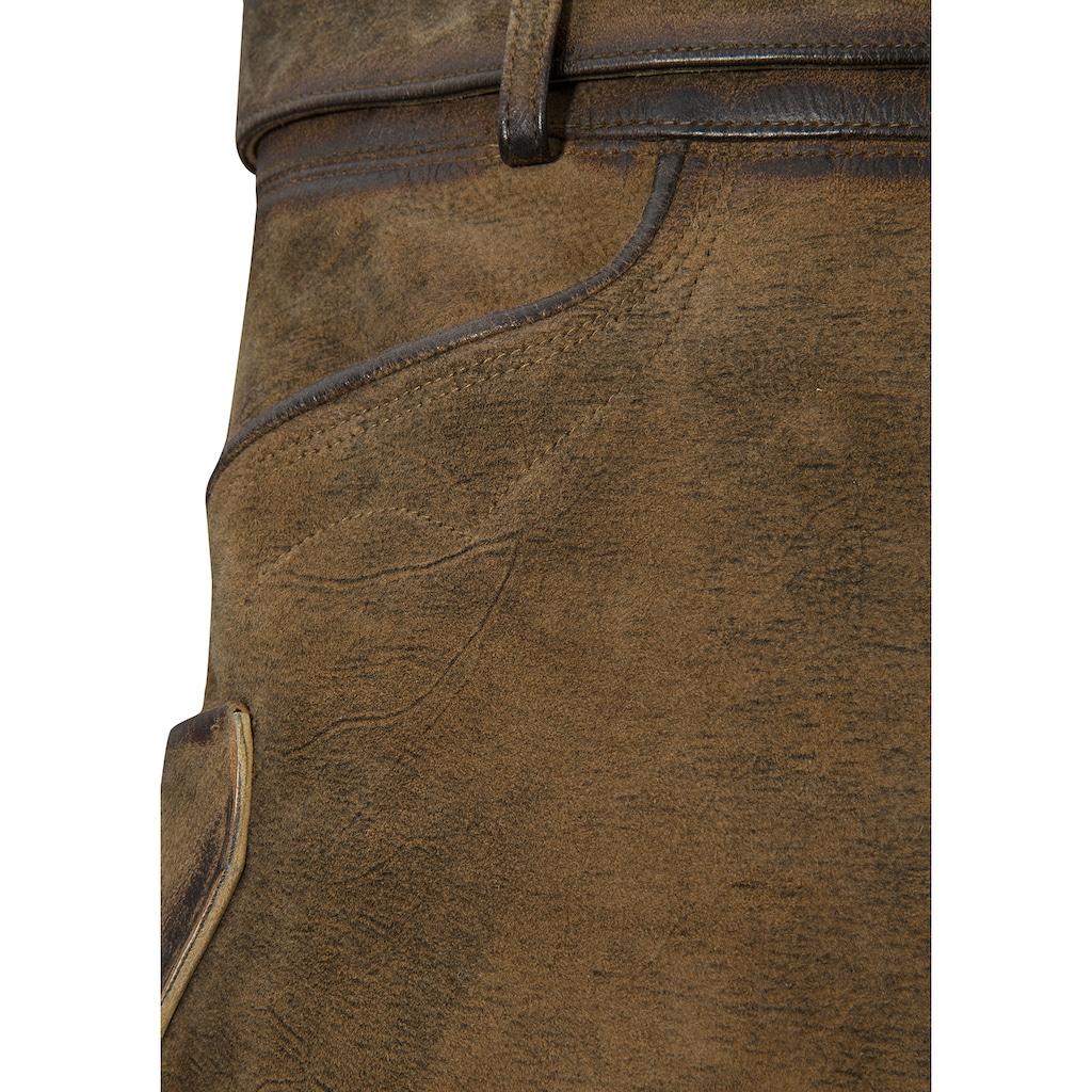 Country Line Lederhose, (mit abnehmbarem Gürtel), mit Gürtel