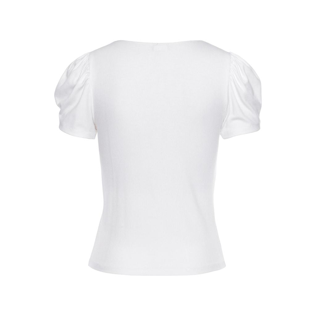 LASCANA Kurzarmshirt, aus gerippter Ware