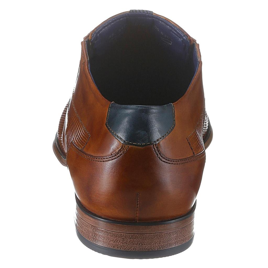 bugatti Schnürschuh, mit geprägtem Leder