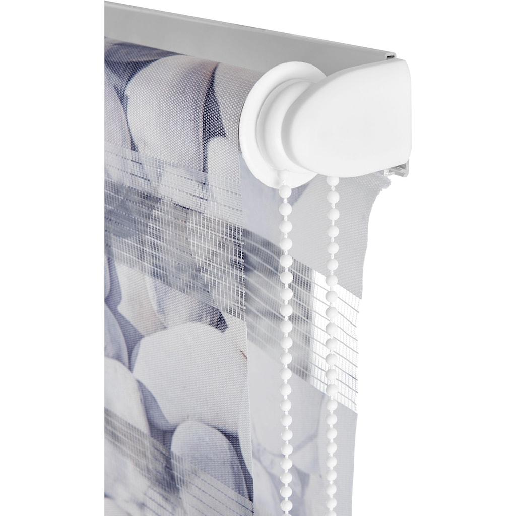 my home Doppelrollo »Steine«, Lichtschutz, ohne Bohren, freihängend, im Fixmass