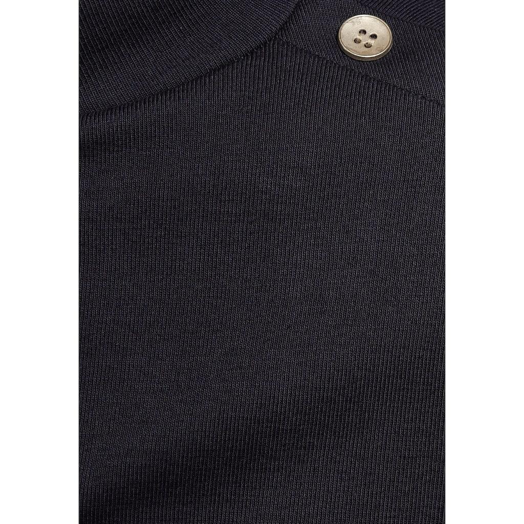 AJC Langarmshirt, mit Streifen und goldfarbenenen Knöpfen an der Schulter