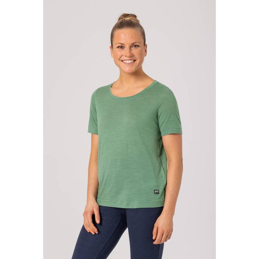 SUPER.NATURAL T-Shirt »W ESSENTIAL SCOOP TEE«, pflegeleichter Merino-Materialmix