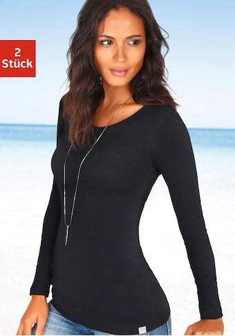 Bench. Langarmshirt, besonders lang geschnitten und aus weicher Feinripp-Qualität kaufen