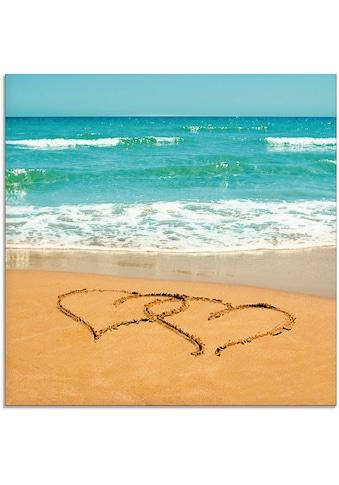 Artland Glasbild »Herzen im Sand«, Strand, (1 St.) kaufen