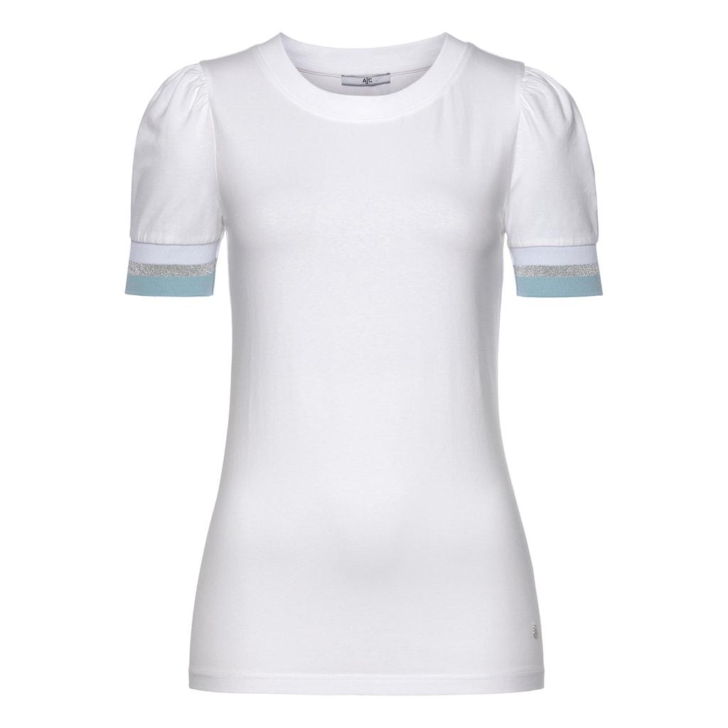 AJC Kurzarmshirt, mit Puffärmeln und glänzendem Kontraststreifen