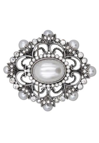 J.Jayz Brosche »metallfarbene Ornamentik«, mit Glassteinen und Kunststoffperlen kaufen