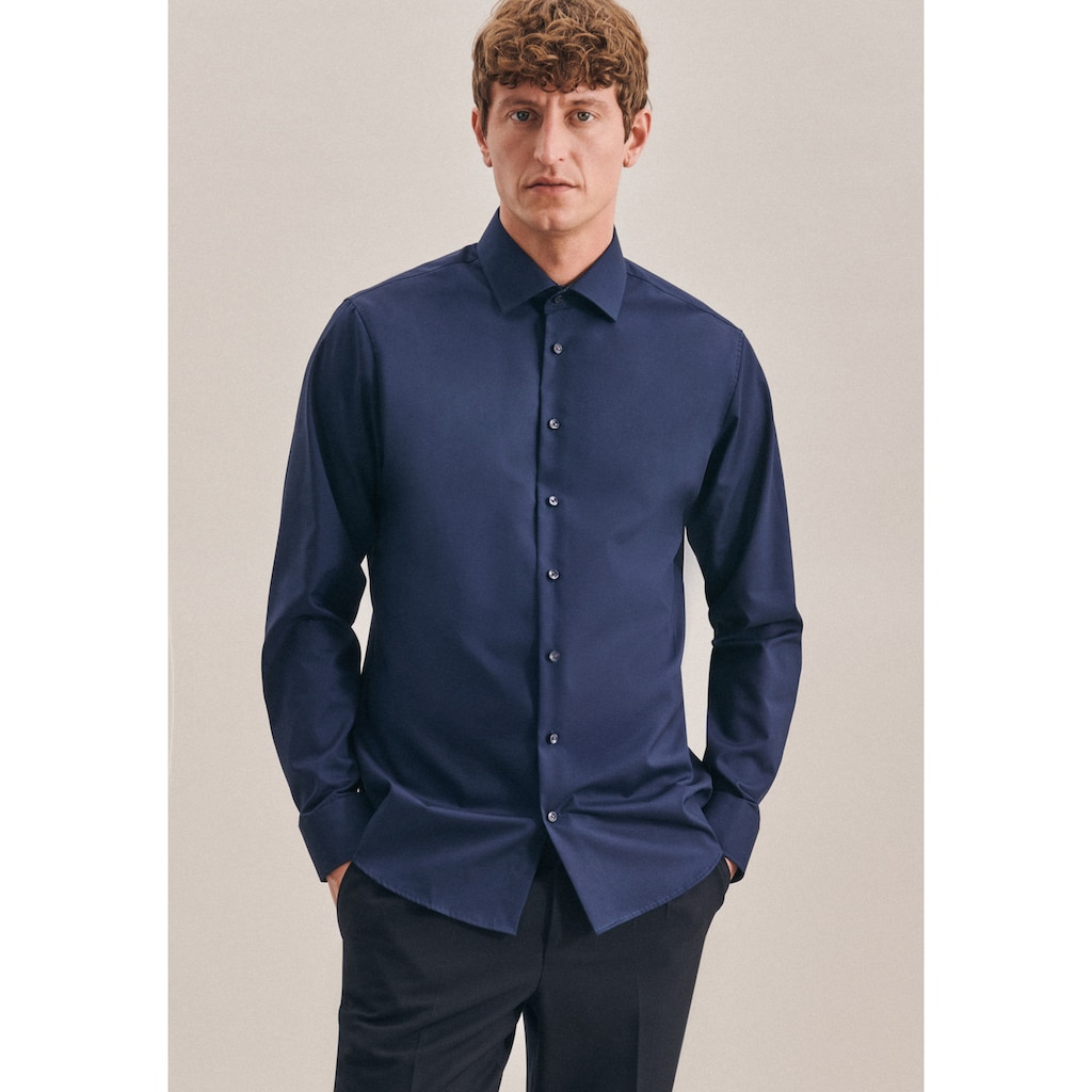 seidensticker Businesshemd »Shaped«, Shaped Langarm Kentkragen Uni