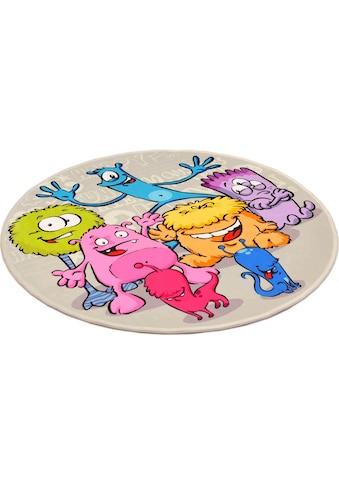 Böing Carpet Kinderteppich »Lovely Kids 417«, rund, 6 mm Höhe, Motiv Aliens kaufen