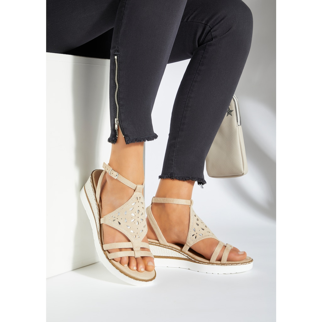 LASCANA Sandalette, mit verziertem Keilabsatz und weich gepolsterter Innensohle