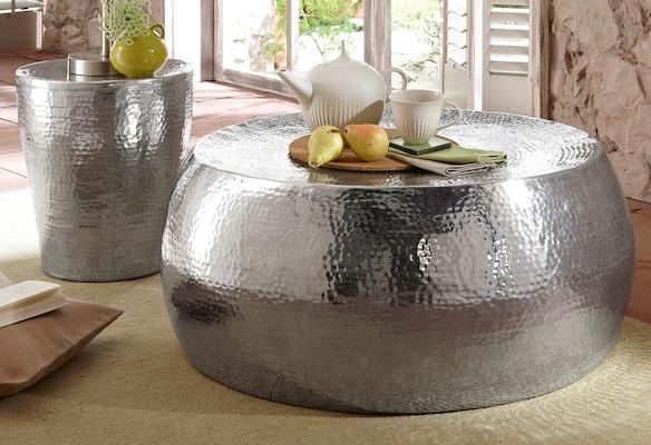 Aluminium Couchtisch in Hammerschlag-Optik