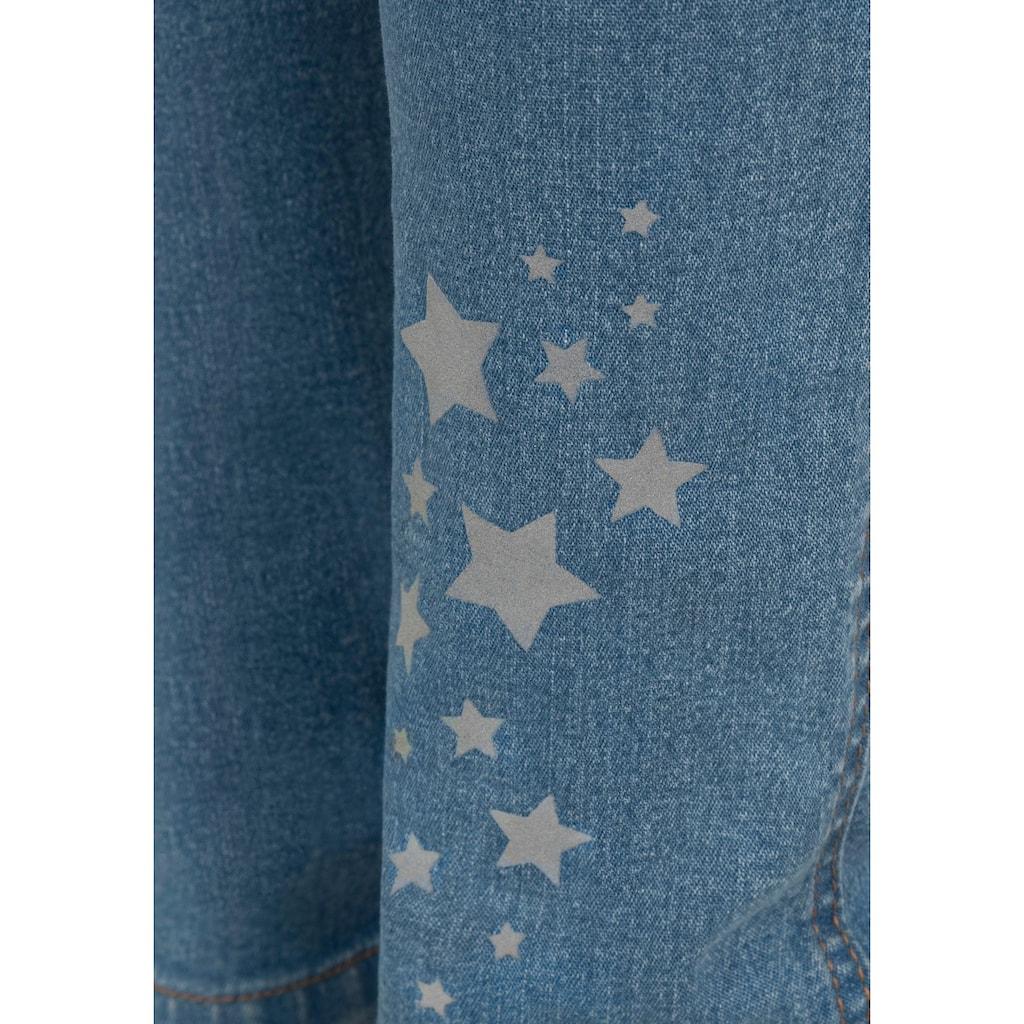 Arizona Schlupfjeans, mit Rippenbund und reflektierendem Sternendruck