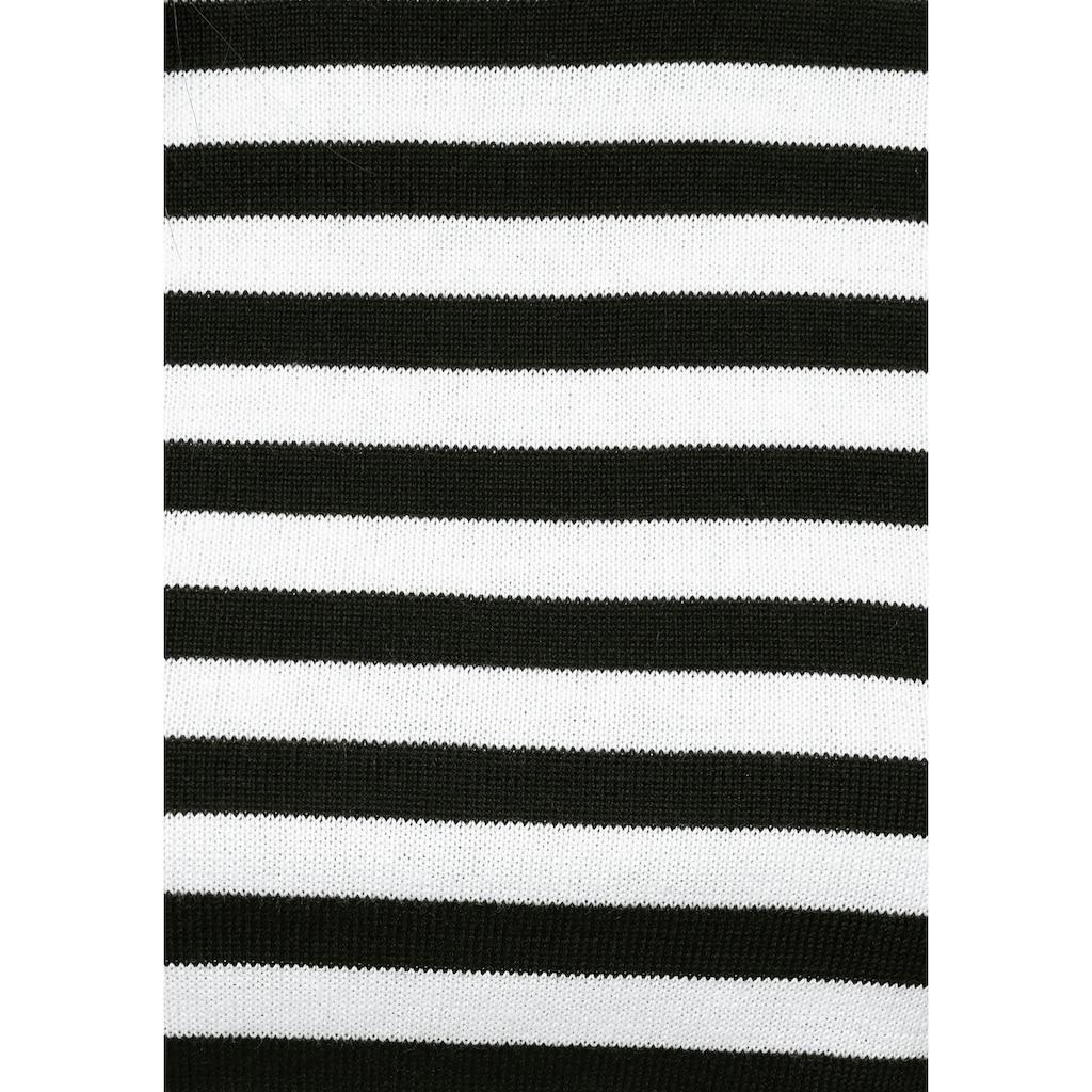 AJC Rundhalspullover, mit angesagten Streifen und kontrastfarbigen Bündchen
