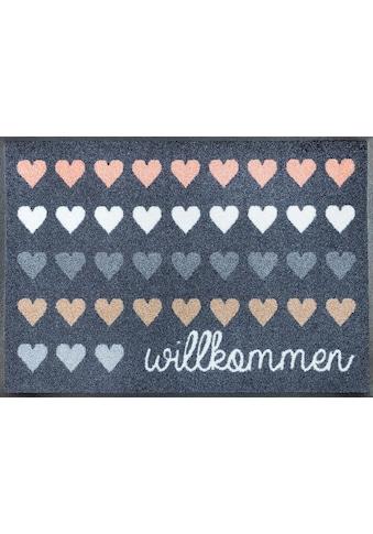 wash+dry by Kleen-Tex Fussmatte »Willkommen Herzen«, rechteckig, 7 mm Höhe,... kaufen