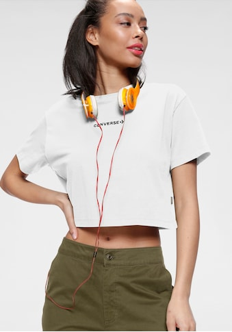 Converse T-Shirt »CENTER FRONT EMBROIDERED WORDMARK CROP TEE« kaufen