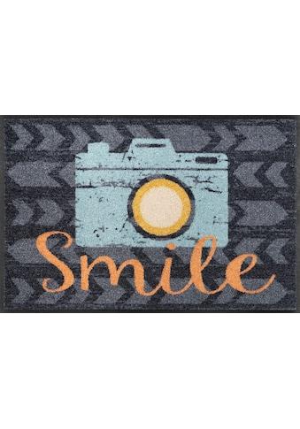 wash+dry by Kleen-Tex Fussmatte »Smile«, rechteckig, 7 mm Höhe, Schmutzfangmatte, mit... kaufen