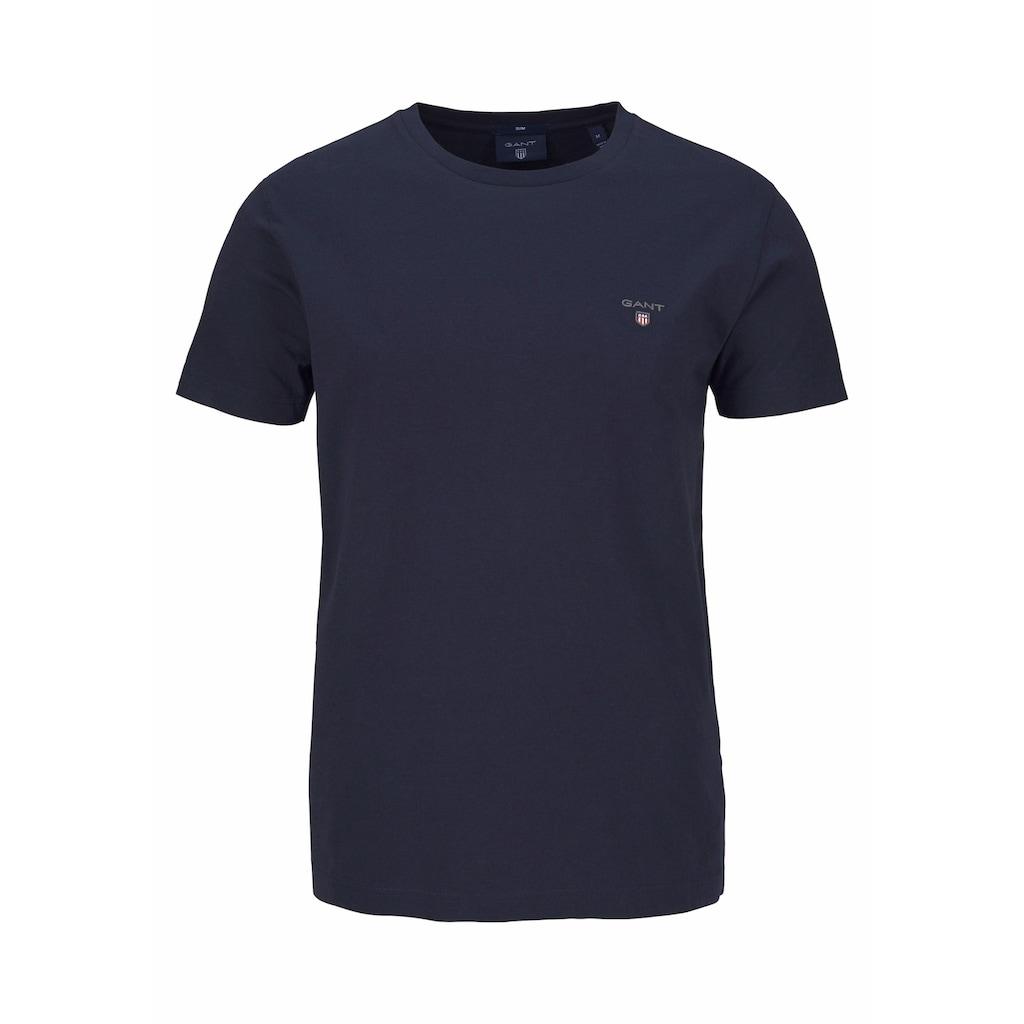 Gant T-Shirt, kleine Kontrast-Logostickerei