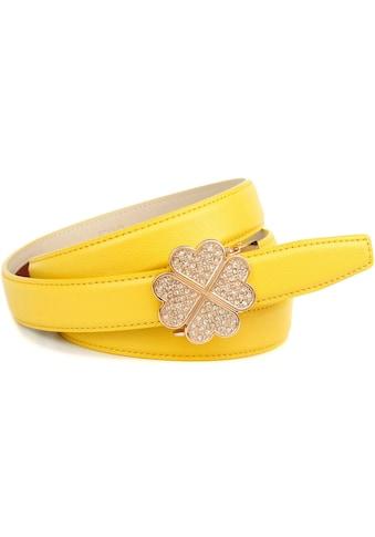 Anthoni Crown Ledergürtel, mit Kleeblatt-Schliesse und Glitzersteinen kaufen