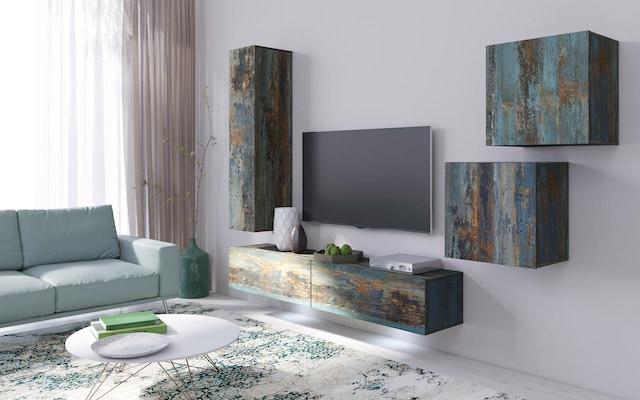 moderne Wohnwand im Shabby-Look