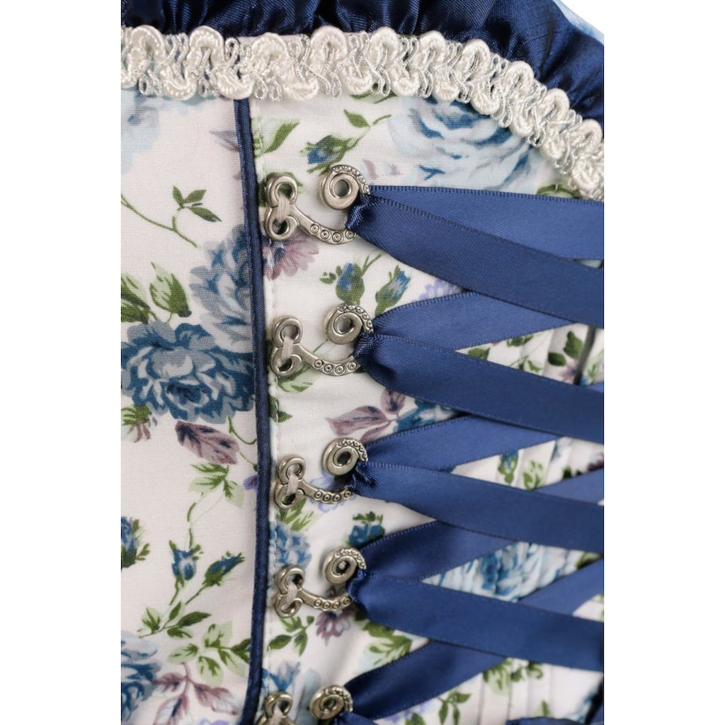 Krüger Madl Dirndl »Blue Roses«, (2 tlg.), kurz mit Glanzschürze