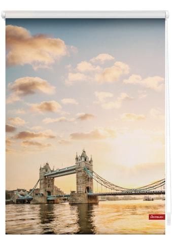 LICHTBLICK Seitenzugrollo »Rollo Klemmfix, ohne Bohren, blickdicht, Tower Bridge - Rot... kaufen