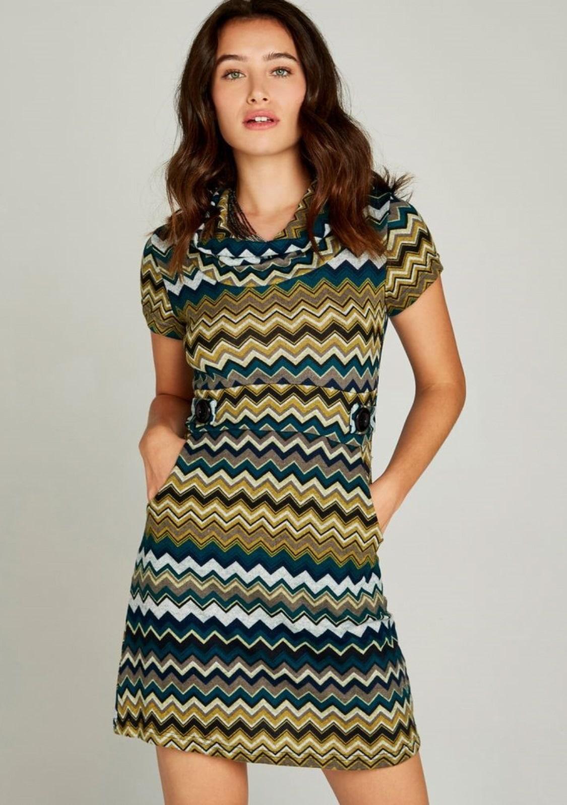 Image of Apricot Strickkleid »Chevron Stripe Epaulette Dress«