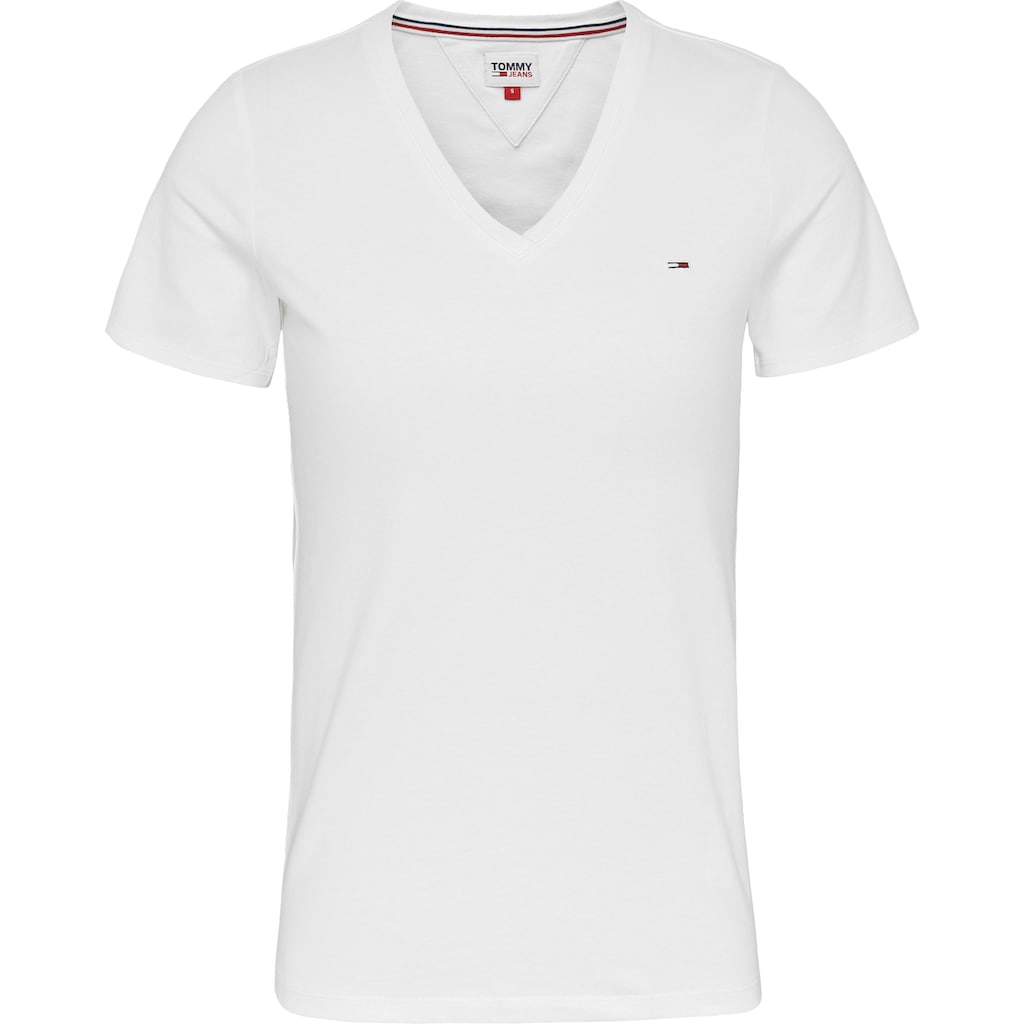 Tommy Jeans V-Shirt »TJW SKINNY STRETCH V NECK«, mitTommy Jeans Logo-Flag auf der Brust