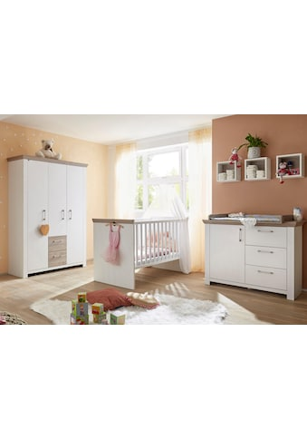 Babyzimmer-Komplettset »Stralsund«, (Set, 3 St.), Bett + Wickelkommode + 3 trg. Schrank kaufen