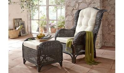 Home affaire Rattanstuhl »Frieda«, mit Sitzhocker, inkl. Kissenauflagen kaufen