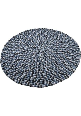 Home affaire Wollteppich »Maja«, rund, 22 mm Höhe, reine Wolle, Filzkugel-Teppich, Wohnzimmer kaufen