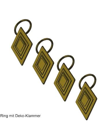 Liedeco Gardinenring, (Packung, 4 St., mit Dekoklammer), für Gardinenstangen Ø 16 mm kaufen