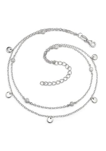 Fusskettchen Silberfarben Zirkonia rhodiniert 24 - 27 cm verstellbar kaufen
