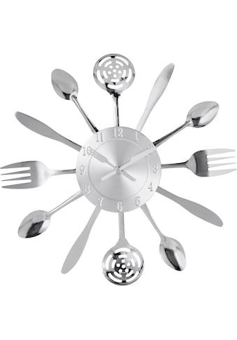 my home Wanduhr »Cutlery«, Küchenuhr, silberfarben, rund, Ø 50 cm kaufen