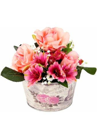 Kunstpflanze »Gesteck Rosen in Zinktopf« kaufen