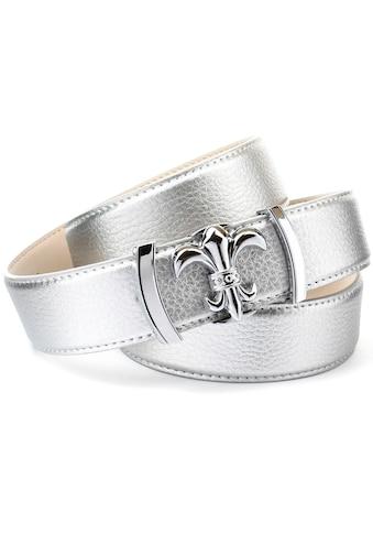 Anthoni Crown Ledergürtel, mit Lilien-Schliesse, abgesteppte Ränder kaufen