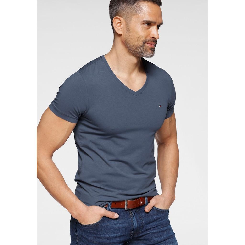 TOMMY HILFIGER T-Shirt »STRETCH SLIM FIT VNECK TEE«