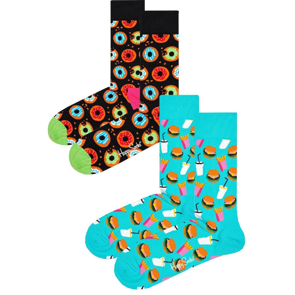 Happy Socks Socken, (2 Paar), mit knalligen Fastfood-Motiven