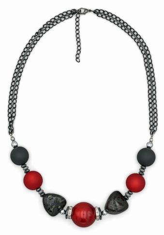 J.Jayz Collier »mehrreihig, mit Perlen in grau und rot«, mit Hämatit, Glassteinen und... kaufen