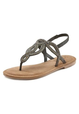 LASCANA Zehensteg-Sandale mit Schmucksteinen und softer Lederinnensohle kaufen