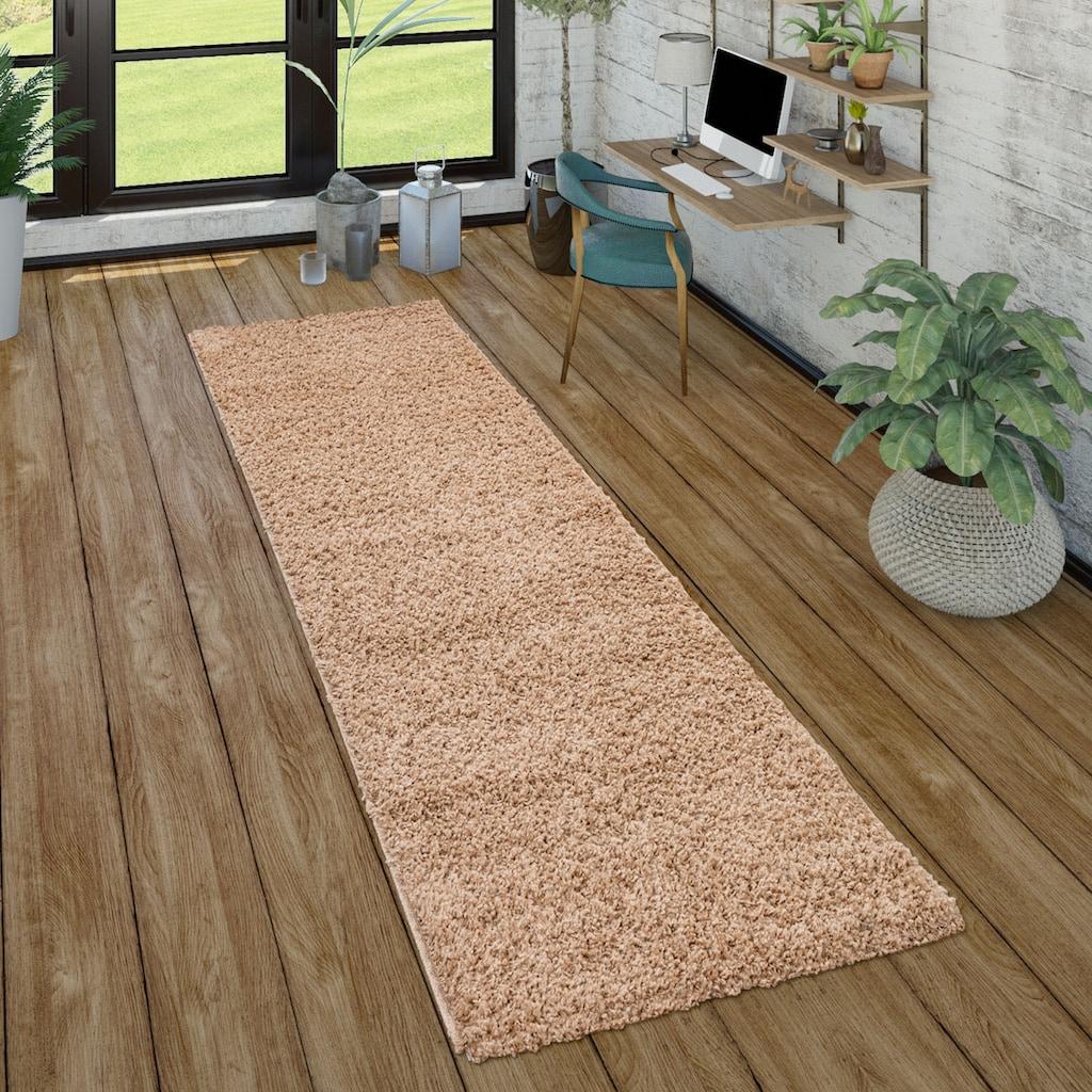 Paco Home Läufer »Sky 250«, rechteckig, 35 mm Höhe, Teppich-Läufer, gewebt, einfarbiger Uni Hochflor Shaggy